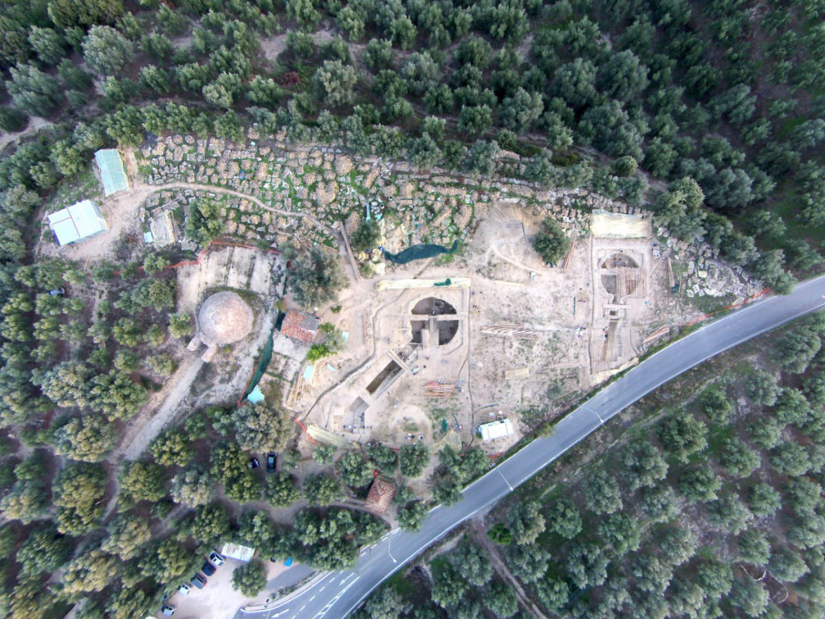 An aerial view of the site shows the Tholos IV tomb, far left, found by UC archaeologist Carl Blegen in 1939 in relation to the two family tombs called Tholos VI and Tholos VII, uncovered last year by UC archaeologists Jack Davis and Sharon Stocker. Aerial photo/UC Classics