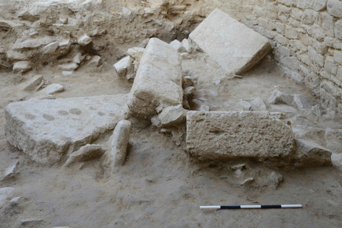 The floor of Tholos VI, one of two family tombs UC archaeologists discovered last year, is composed of giant stone slabs likely taken from the ruins of the Palace of Nestor. Photo/UC Classics