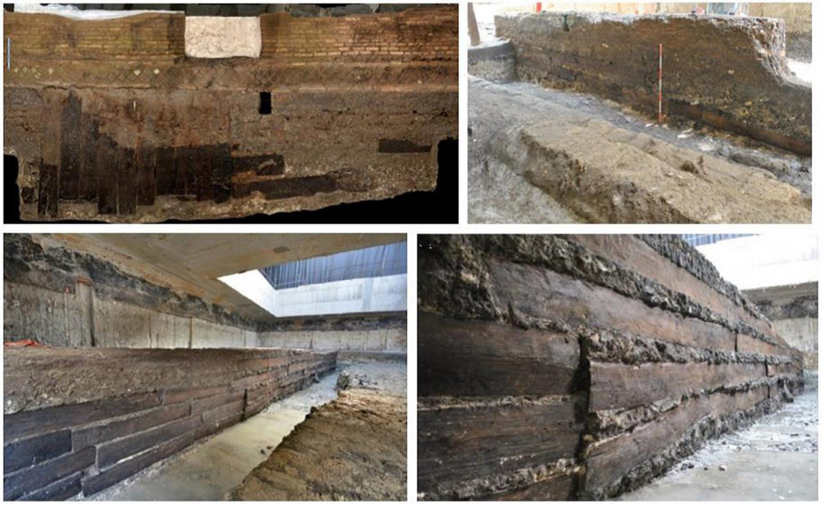 Some of the oak planks in situ in the foundation of the portico. Credit: Bernabei at al., 2019