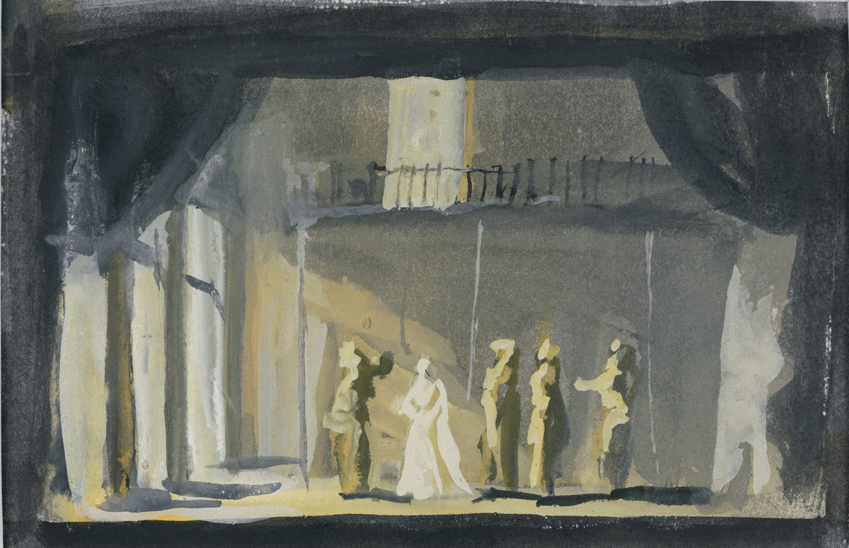 "Yannis Tsarouchis, ""Othello no 4"", 1961. Water colour on paper, 12.5x19.5 cm. Yannis Tsarouchis Foundation, Inv. No. 1551."
