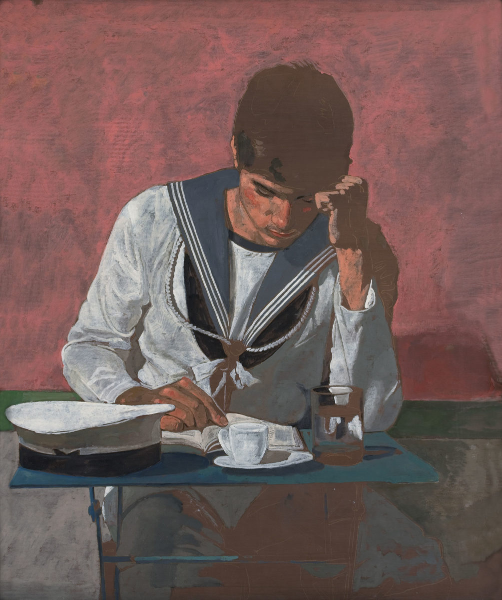 "Yannis Tsarouchis, ""Sailor reading"", 1981. Oil on Kraft paper, 93x80 cm, Yannis Tsarouchis Foundation, Inv. No. 1596."
