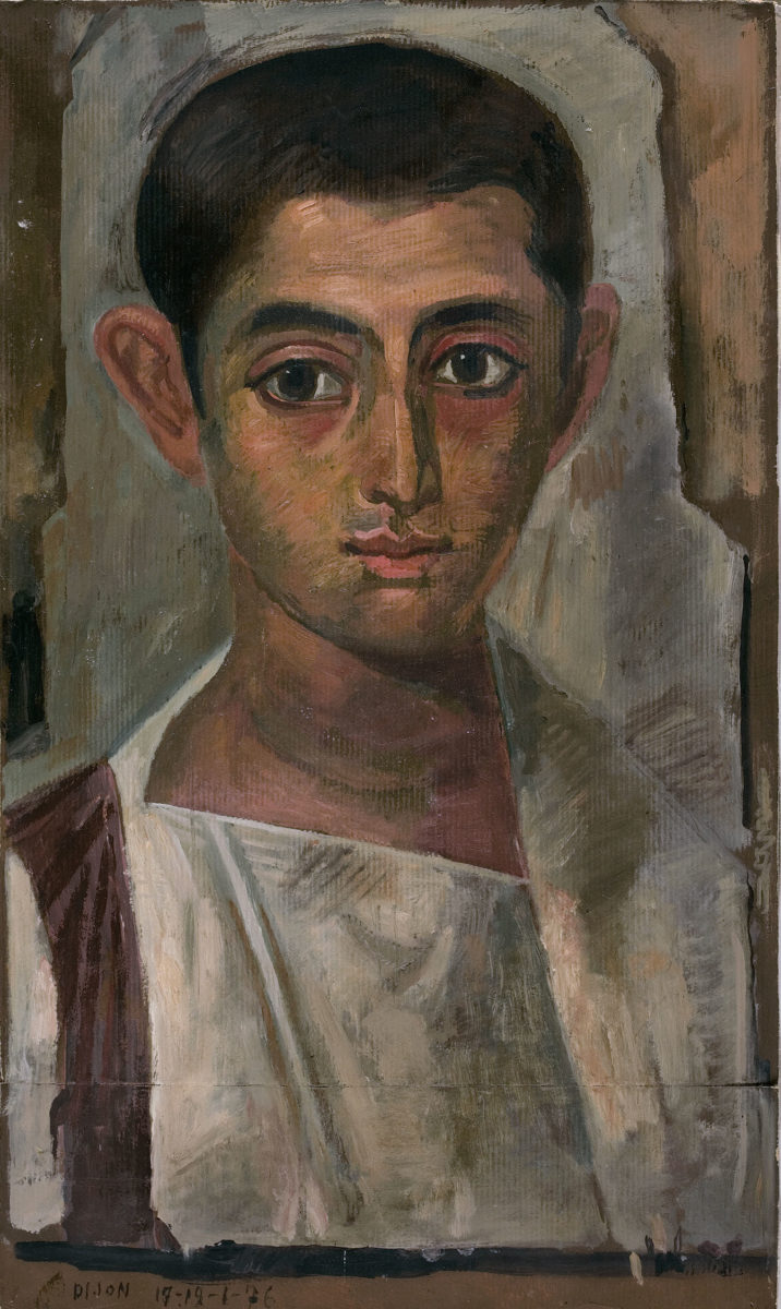 Yannis Tsarouchis, Copy of one of the Fayum in the Dijon Museum, larger than the original, 1976. Oil on paper, 50x29.7 cm. Yannis Tsarouchis Foundation, Inv. No. 443.