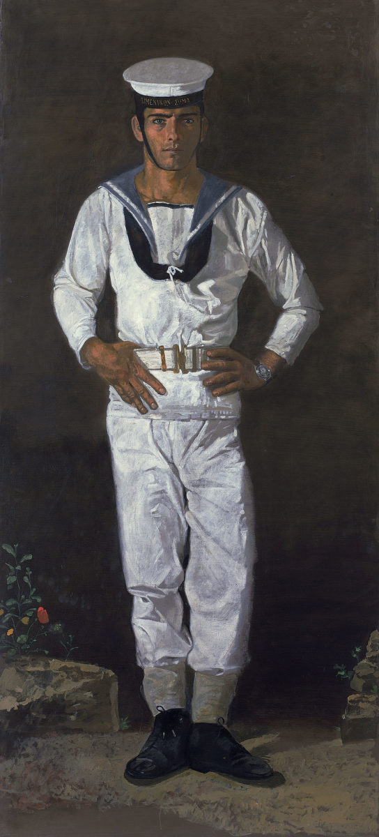 "Yannis Tsarouchis, ""Sailor in the sun"", 1968-1970. Oil on canvas, 223.5x104 cm. Yannis Tsarouchis Foundation, Inv. No. 591."
