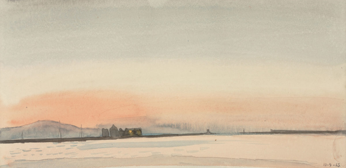 "Yannis Tsarouchis, ""Chios harbour before sunrise"", 1965. Watercolour on paper, 15.5x31cm. Yannis Tsarouchis Foundation, Inv. No. 63."