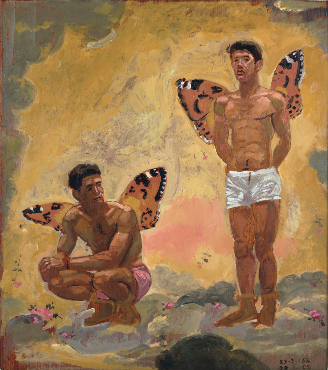 "Yannis Tsarouchis, ""Two men with butterfly wings"", 1968. Oil on plywood, 44.5x39.4cm. Yannis Tsarouchis Foundation, Inv. No. 631."