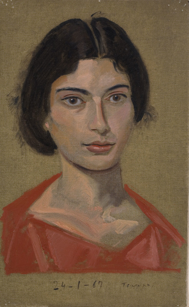 "Yannis Tsarouchis, ""First portrait of Despina aged 18"", 1967. Oil on canvas, 56.0x39cm. Yannis Tsarouchis Foundation, Inv. No. 689."