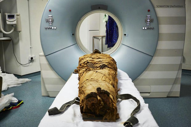 The mummy of the ancient Egyptian priest Nesyamun was put into a CT scanner to examine his vocal tract. Photograph: Scientific Reports