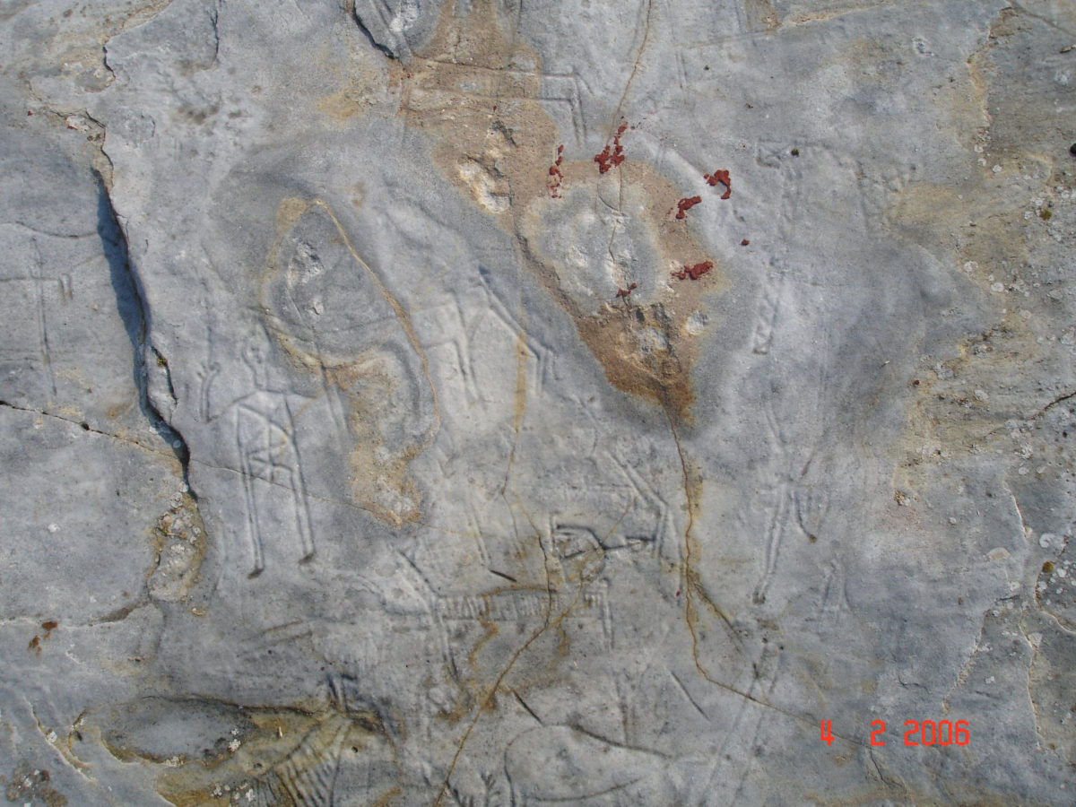 Rock carvings before their destruction (photo credit: ANA-MPA / Theodoros Lymberakis).
