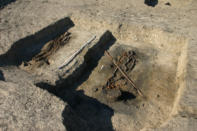 Two of the graves containing the remains of Scandinavian warriors. Credit: Z. Ratajczyk, PAP