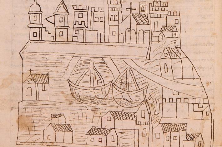 Image of Venice supplied by the Florence, Biblioteca Nazionale Centrale, II.IV.101, fol. 1v. With permission of the Ministero per i beni e le attività culturali e per il turismo / Biblioteca Nazionale Centrale, Florence.