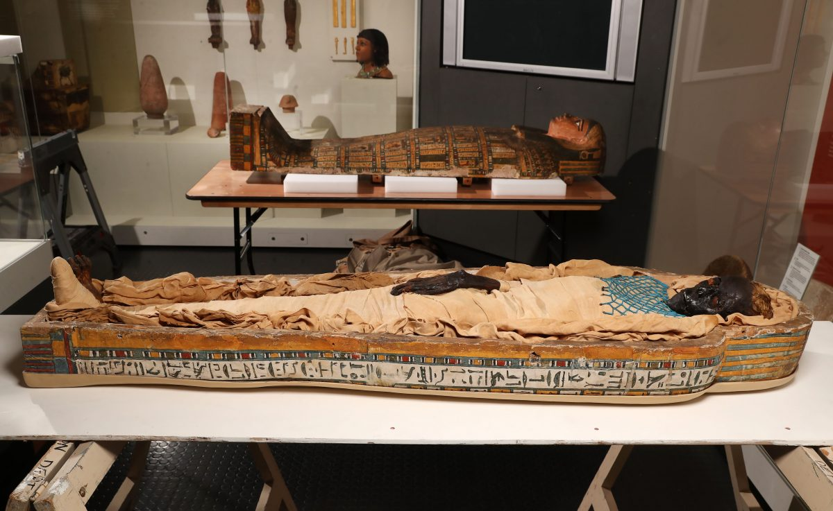 Takabuti and her coffin. Image Credit: University of Manchester