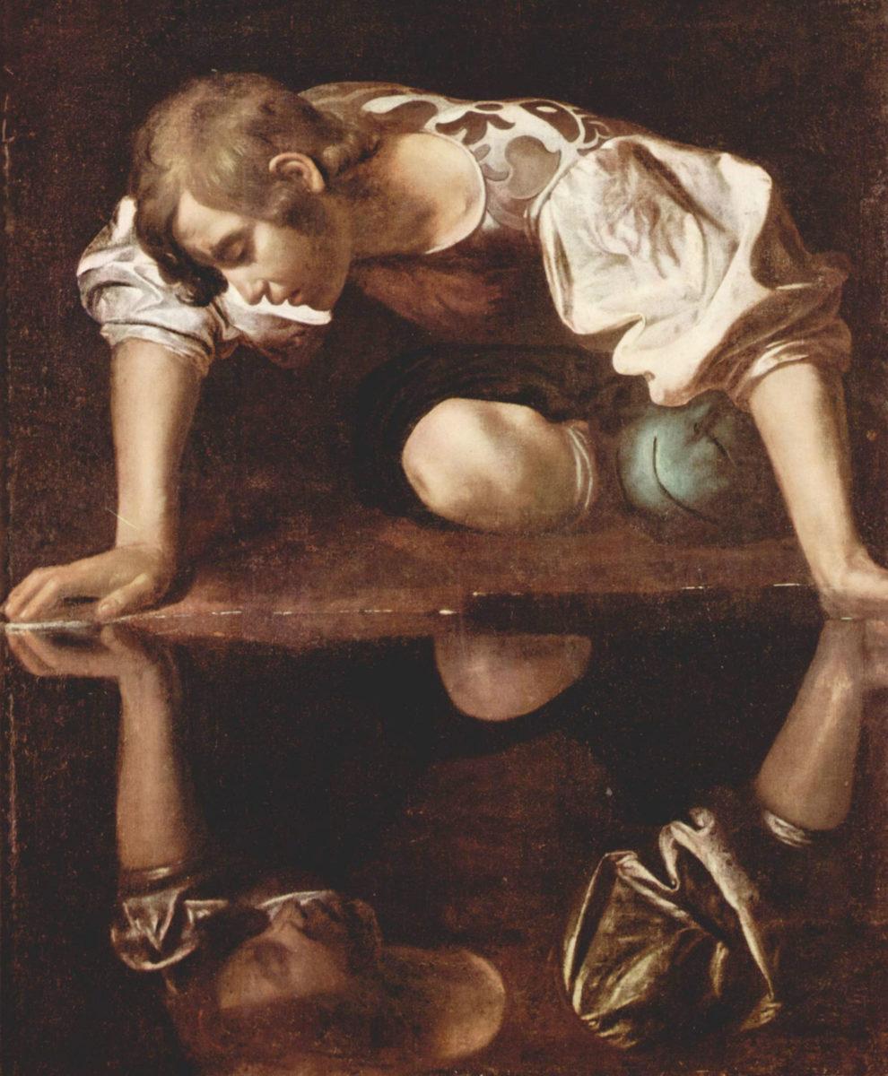 """Caravaggio, """"Narcissus"""", 1597-1599. Rome, Galleria Nazionale d'Arte Antica (Photo: Wikipedia)."""