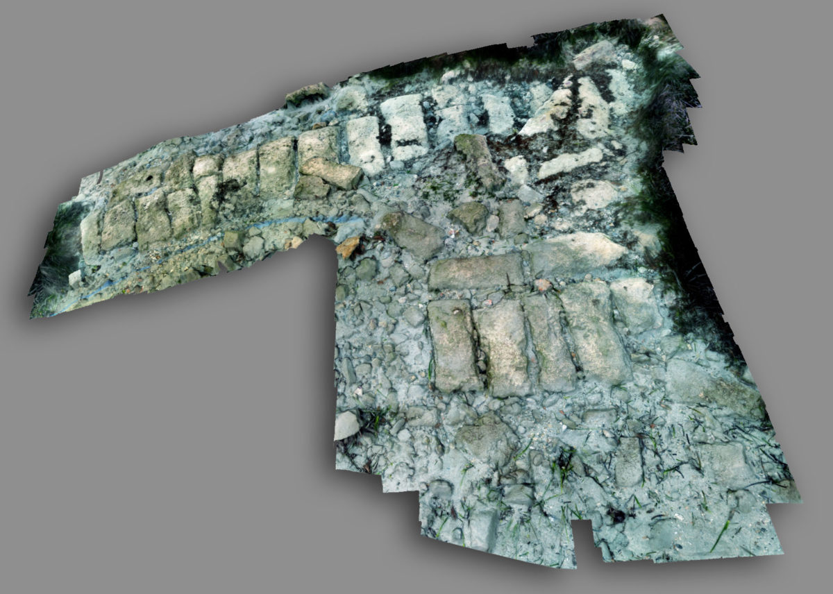 View of a 3D depiction of part of the wall of ancient Oloundas, submerged today in the bay of Poros (photo: Ministry of Culture and Sports)