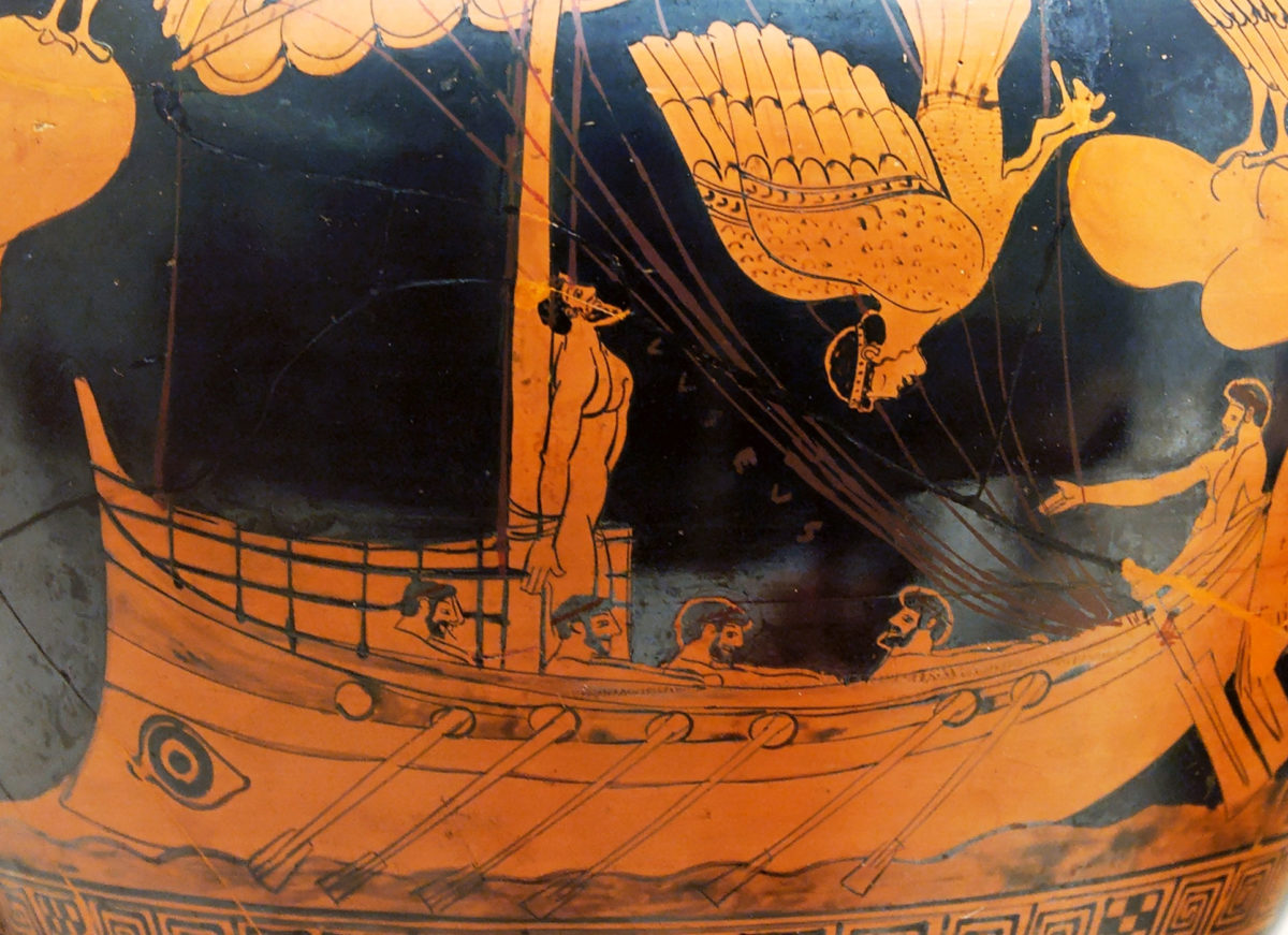 Attic red-figure stamnos from Vulci c. 480-450 BC depicting the myth of Odysseus tied to his ship's mast in order to resist the enchanting song of the Sirens.