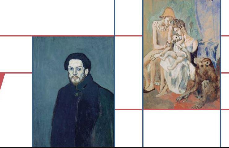 Pablo Picasso, Autoportrait, 1901 (left), Famille de saltimbanques avec un singe, 1905 (right). Photo Credits: © Succession Picasso 2020.