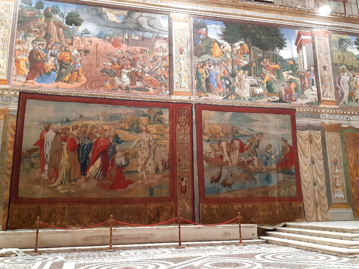 Layout of the Raphael Tapestries in the Sistine Chapel.