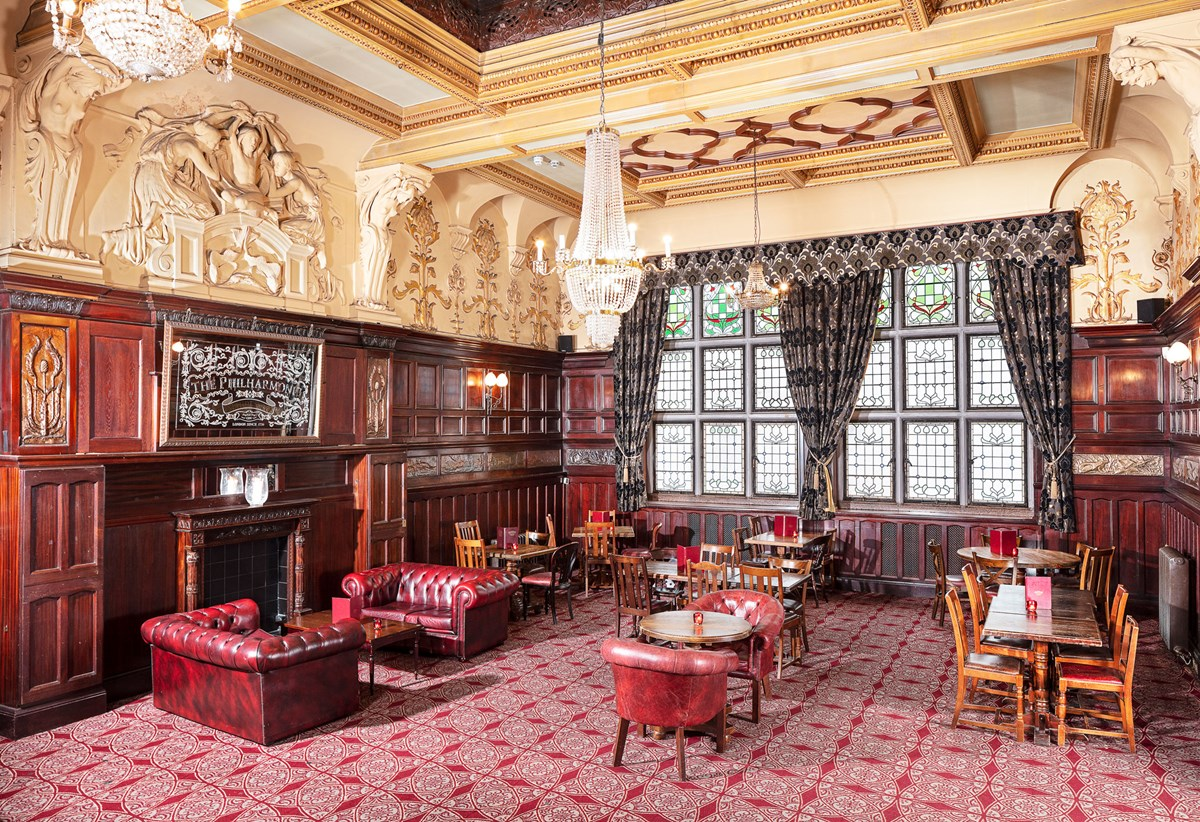 Grade I listed Philharmonic Dining Rooms, 36 Hope St, Liverpool, Merseyside. Former gentlemen's club, main dining room overlooking Hope St to east. © Historic England Archive, photographer credit Alan Bull, image reference DP234379
