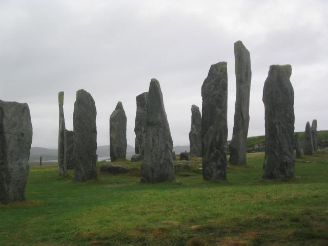 Calanais standing stones. The stones form a central ring with radial spokes to the north, east and west, and a longer double row or
