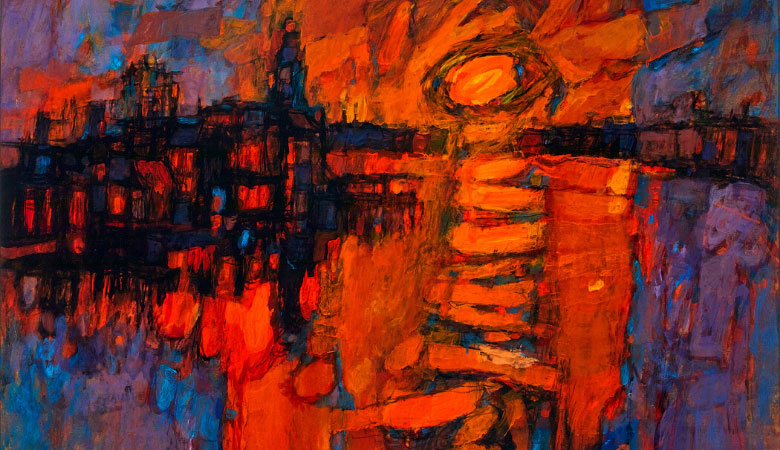 Alfred Cohen, 'Sunset from Blackfriars Bridge', 1961, Oil on board. Photo credit: King's College.