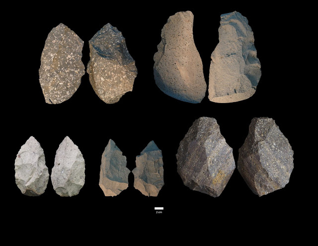 Two opposing views of Acheulian stone tools from DAN5. Credit: Dr. Michael J. Rogers, Southern Connecticut State University.