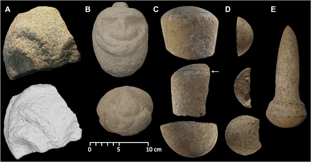 Formally manufactured stone carvings and pestles from Waim. Image Credit: Ben Shaw, UNSW.