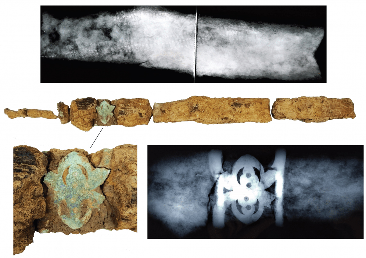 Results of X-rays and initial conservation of the sword. Credit: UCL