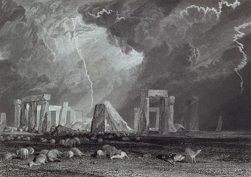 Turner's watercolor view of Stonehenge, engraved by Robert Wallis, 1829.