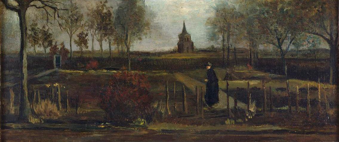 Vincent van Gogh, 'Spring Garden, the Parsonage Garden in Nuenen in Spring', 1884, oil on panel, 39 x 72 cm, Groninger Museum