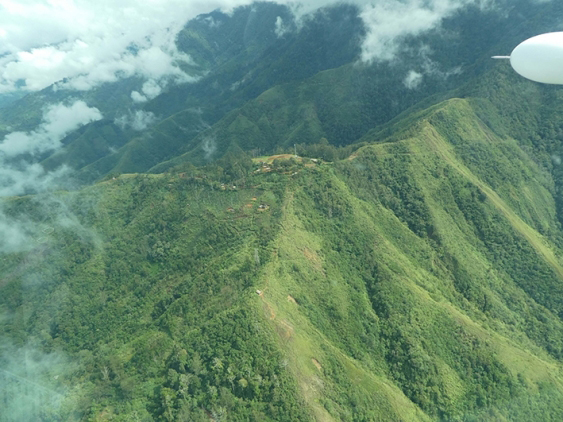 Waim village as seen from the air, in the rugged highlands of northern Papua New Guinea. Picture: UNSW/Ben Shaw