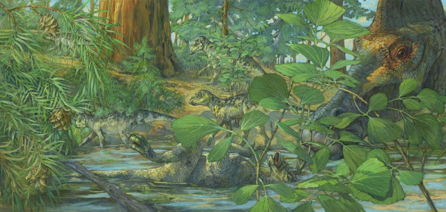 Nesting ground of Hypacrosaurus stebingeri from the Two Medicine formation of Montana.  In the center can be seen a deceased Hypacrosaurus nestling with the back of its skull embedded in shallow waters. A mourning adult is portrayed on the right. Art by Michael Rothman. Credit: Science China Press