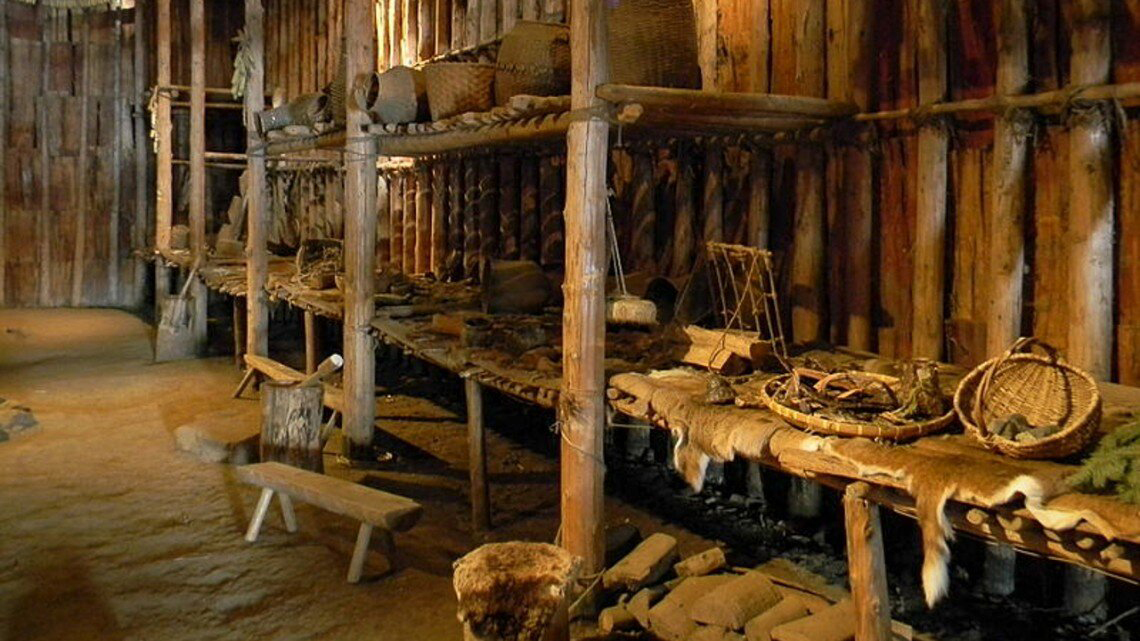 Interior of a reconstructed Iroquoian longhouse. Research by the Dating Iroquoia Project in New York state and southern Canada is providing a new understanding of Iroquoian history and European contact. Credit: Cornell University