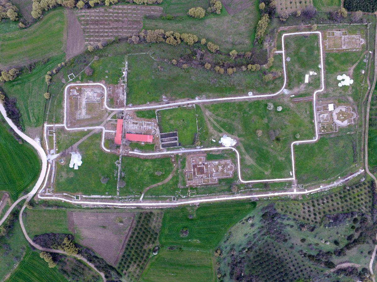 Aerial photograph of the Christian Acropolis of Ancient Amphipolis (April 2020) Photo: MOCAS