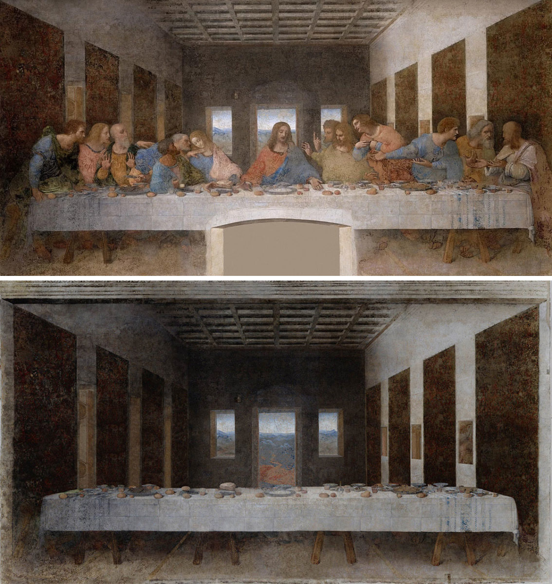 """The Last Supper"" by Leonardo Da Vinci (1498) and its counterpart by Jose Manuel Ballester (below)."