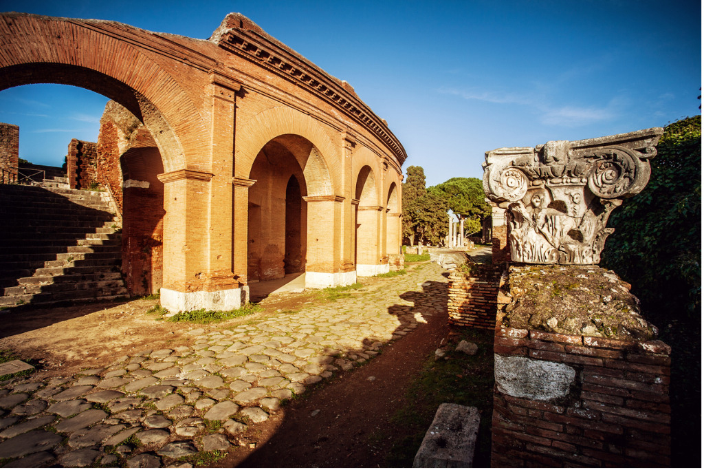 View of the Archaeological Area of Ostia Antica (Italy).