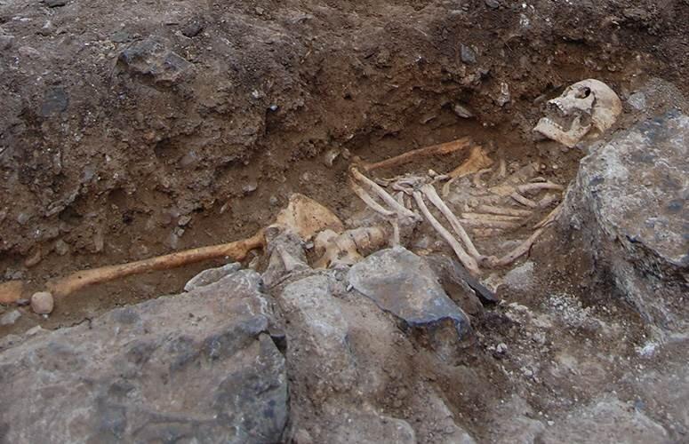 One of the skeletons found at the medieval site of San Miguel de Ereñozar. Credit: UPV/EHU