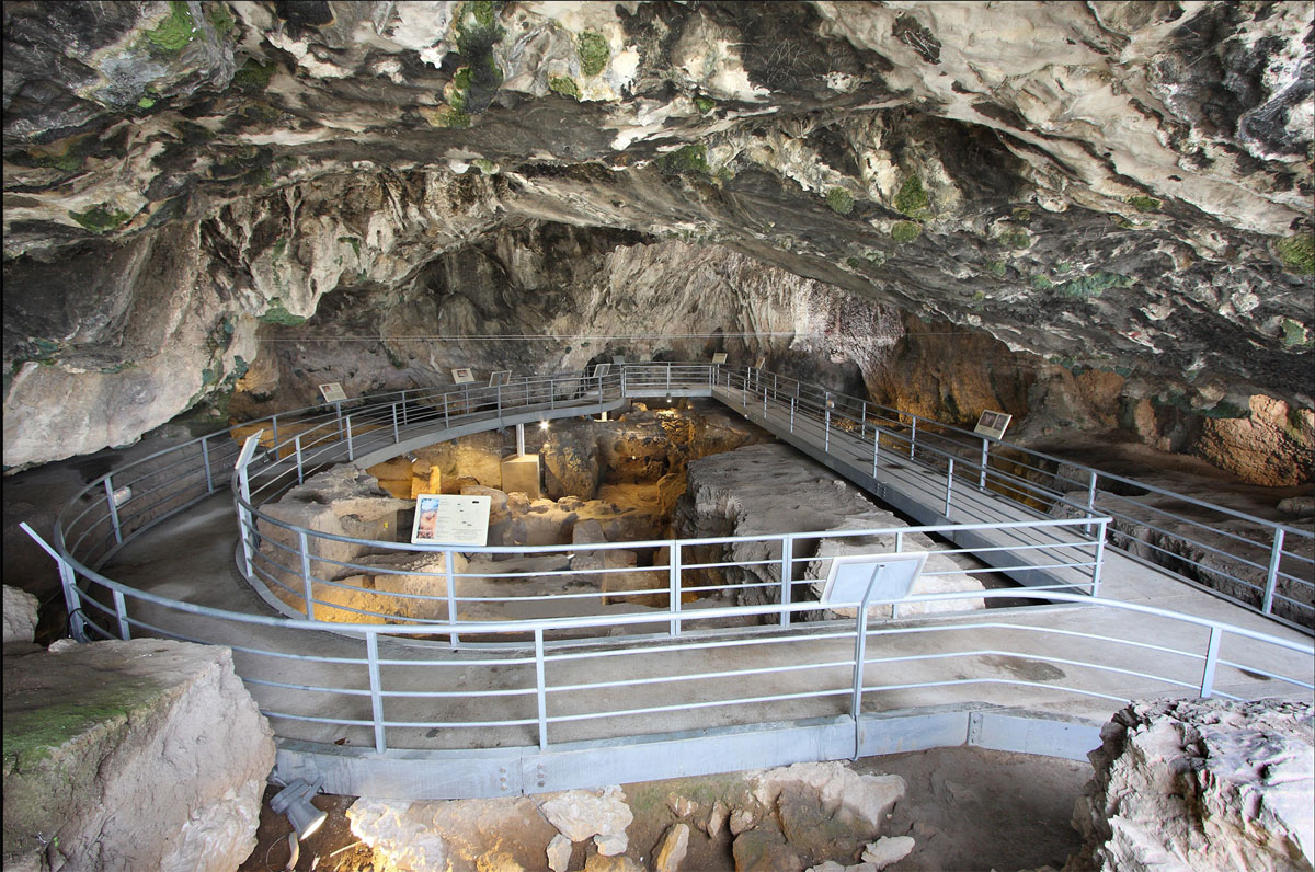 Theopetra cave's interior with the visitors' passage after its upgrading.