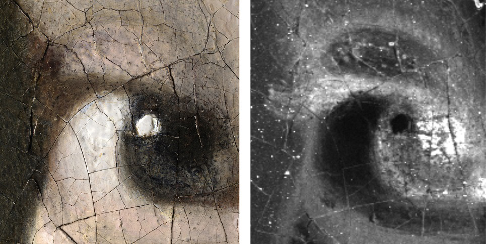 L: 3D digital micro-photograph of the Girl's right eye: 140x magni-fication [Hirox Europe, Jyfel]. R: The macro-X-ray fluorescence map for iron shows that Vermeer painted eyelashes using a brown paint. The tip of the eyelash is barely visible against the discoloured dark background. [A. van Loon: Mauritshuis/ Rijksmuseum]