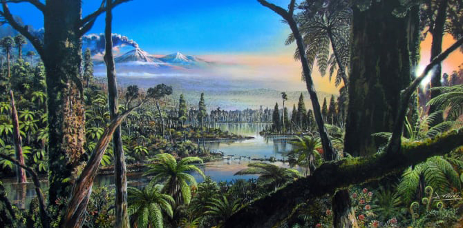 Artists' impression of West Antarctica 90 million years ago. Alfred-Wegener-Institut/J. McKay. This image is available under Creative Commons licence CC-BY 4.0