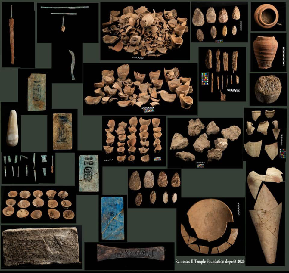 Material from the foundation deposit of Ramesses II in Abydos.