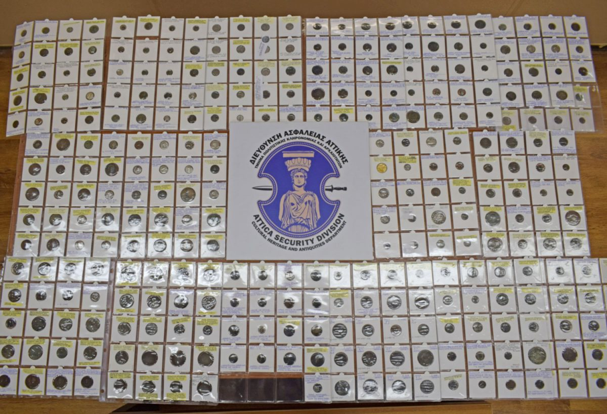 The confiscated items will be handed over to the Numismatic Museum of Athens for safekeeping and  a final evaluation. (Photo: Hellenic Police)