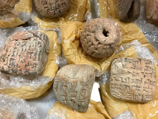 Counterfeit tablets confiscated at Heathrow airport London (photograph: British Museum).