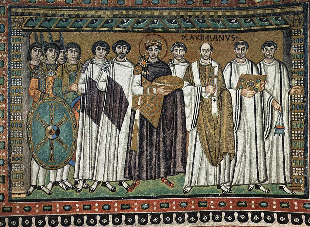 Court of Emperor Justinian with (right) archbishop Maximian and (left) court officials and Praetorian Guards; Basilica of San Vitale in Ravenna, Italy.