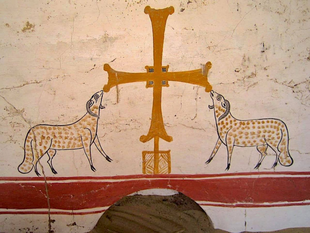 Christian symbols painted on white plaster on a newly discovered monument from Oxyrhynchus. Source: MoTA Egypt.