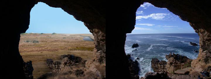 Looking out at the Palaeo-Agulhas Plain from the cave entrance at the Pinnacle Point, South Africa, research site-left, 200,000 years ago during glacial phases and lower sea levels, and right, today where the ocean is within yards of the cave entrances at high tides. Credit: Erich Fisher