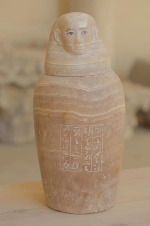 Canopic jar found at the  Mummification Workshop Complex in Saqqara.