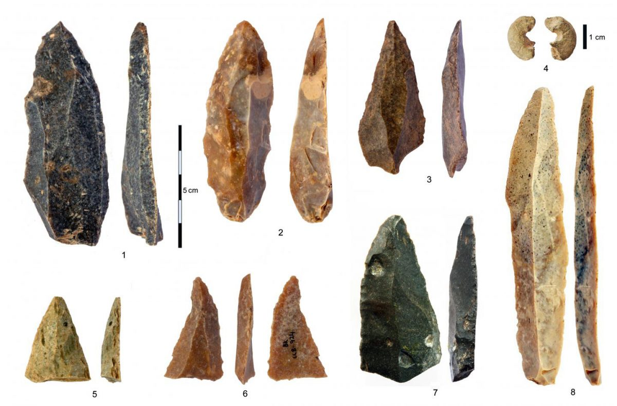 Stone artifacts from the Initial Upper Paleolithic at Bacho Kiro Cave: 1-3, 5-7 Pointed blades and fragments from Layer I; 4 Sandstone bead with morphology similar to bone beads; 8 The longest complete blade. Credit: Tsenka Tsanova, License: CC-BY-SA 2.0