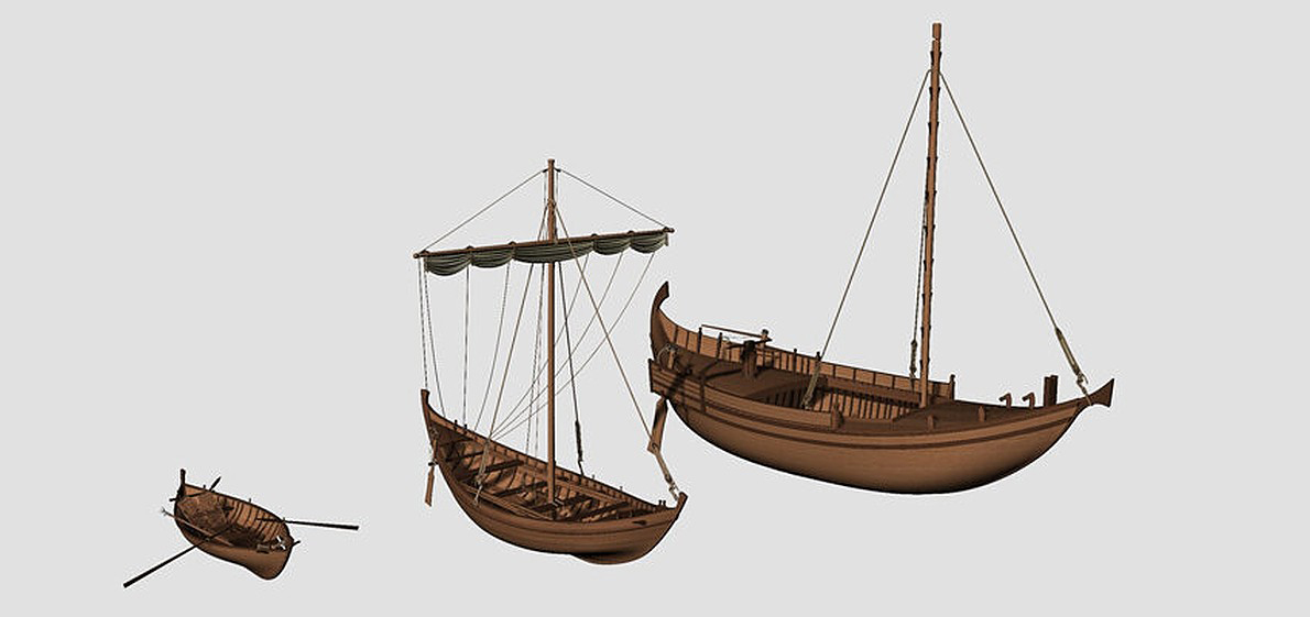 3D reconstructions of the three boat types found in Fiumicino: fishing boat (left), small sailboat (centre) and a harbour lighter (right). Credit: D. Peloso, Ipso Facto scoop.Marseille/P. Poveda, Centre Camille Jullian, CNRS, Aix Marseille Université.