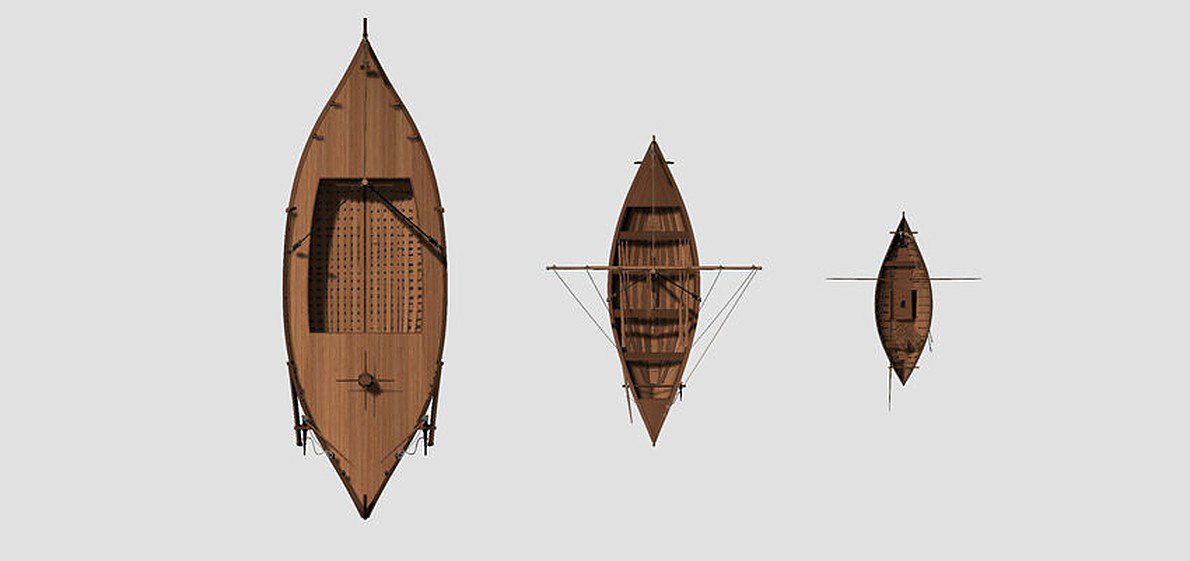 3D reconstructions of the three boat types found in Fiumicino: fishing boat (right), small sailboat (centre) and a harbour lighter (left). Credit: D. Peloso, Ipso Facto scoop.Marseille/P. Poveda, Centre Camille Jullian, CNRS, Aix Marseille Université.