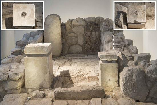 Front view of the shrine at Arad, rebuilt in the Israel Museum. The top?down view of the altars: on where you can see the black residue of cannabis and frankincense. Credit: (Collection of the Israel Antiquities Authority, Photo © The Israel Museum, by Laura Lachman.