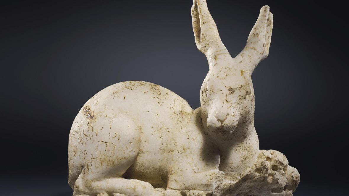 The Roman marble hare sculpture as it appeared in the Christie's catalogue. Credit: Christie's Auctions